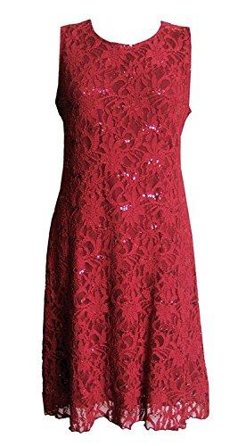Une robe pailletté soirée à manches courtes. Dans les tailles grandes. Rouge