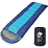 LATTCURE Sac de Couchage Adulte Sleeping Bag Extérieur Professionnel Sac de Couchage Duvet Grand Froid Imperméable pour Camping Excursion Randonnée (Bleu)