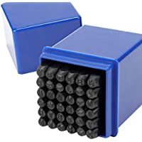 HSEAMALL - Juego de 36 sellos de letras y números metálicos de 3 mm A-Z y 1-9 para sellos en mayúsculas, herramienta de perforación para impresión de marcas en metal, madera, piel, color negro