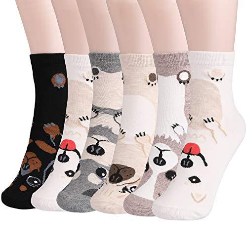 Emooqi Damen Socken, 6 Paare Baumwoll Socken Neuheit Mädchen Socken|Gemütlich Atmungsaktiv|EU Size 35~42|Lässige Socken Frauen Socken für Damen & Mädchen Tägliche Abnutzung Geschenke (Süßer Hund)