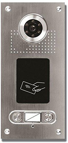 Anthell Electronics AE Farb-Videotürsprechanlage m. RFID 2 Fam. - Außeneinheit, Edelstahlfrontplatte, 2 Familien, 2 Klingeltaster, RFID Leser integriert, Unterputzmontage, AP Montage opt. with Art. 107611 möglich, passende Inneneinheiten incl. Trafo Art. 115634, 118973, optional passende RFID Transponder Art. 107622 od