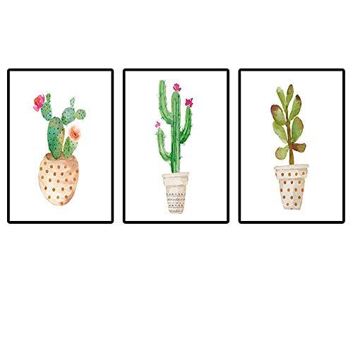 Impression sur Toile,Impression sur Toile,Cartoon Plante Verte Rouge Cactus Fleur Plante Simple Mur Toile Photo Salon Chambre À Coucher Bureau Toile Moderne l'art De Mur Affiche Toile Imprimer Phot