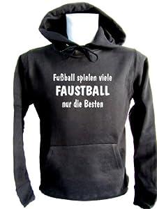 ShirtShop-Saar Fussball Spielen viele - Faustball Kapuzen-Pulli schwarz, Gr. M
