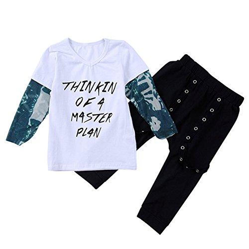SCFEL Kleinkind Baby Jungen Mock Layer Langarm T-Shirt Tops + Schwarz Lange Hosen 2 Stück Outfits Set (18-24 Monate, weiß & (Jungen Halloween Monate Für 18 Kostüme Alten Niedliche)
