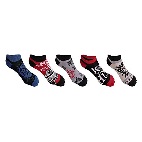 Supernatural Sneaker Socken Symbols 5 Paar Elbenwald schwarz blau rot - 35-38 - Supernatural-socken