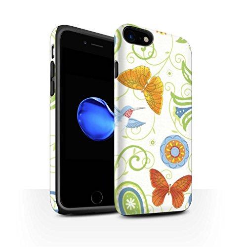 STUFF4 Matte Harten Stoßfest Hülle / Case für Apple iPhone 8 / Blau/Gelb Muster / Frühlingszeit Kollektion Grün/Weiß