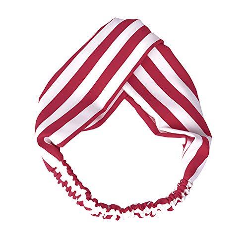 Qinlee Vin Rouge et Blanc Rayure Bandeau Cheveux Femmes Filles Bande de Cheveux Élasticité pour Soin Visage Maquillage Masque Croix Noué Côté Large Tissu