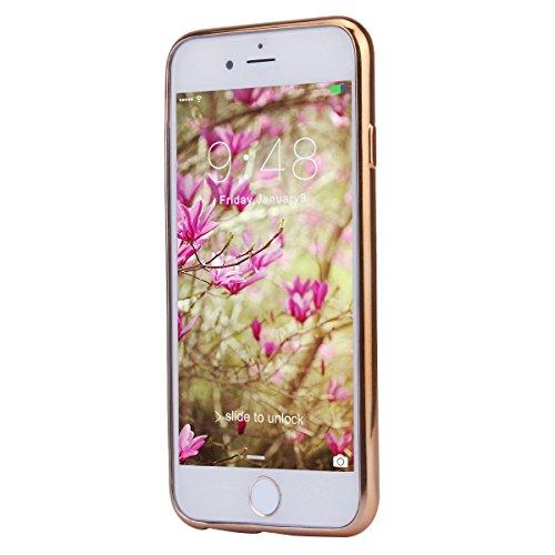 SainCat Coque Housse pour Apple iPhone 6s,Transparent Coque Silicone Etui Housse,iPhone 6 Silicone Case Soft Gel Cover Anti-Scratch Transparent Case TPU Cover,Fonction Support Protection Complète Magn OR-Blanc fleur+Trèfle strass