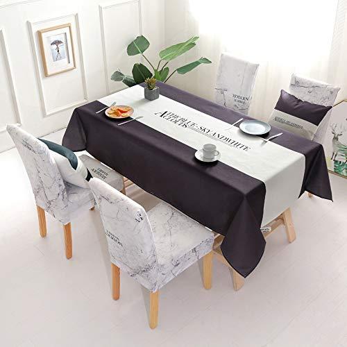 HaHei Tischdecke aus Baumwolle und Leinen, Schwarz und Weiß, Gittermuster, einfacher Esstisch, Tischtuch, Tischdecke, Farbbuchstaben 120 x 160 cm
