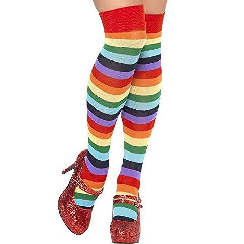 Smiffys Déguisement Adulte, Chaussettes de clown, Montantes, Multicolore, 24153