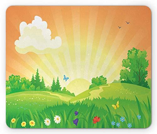 Grass Mouse Pad, Su er Blumen und Schmetterlinge Sonnenaufgang Szene mit pastoralen Elementen Digitale Zeichnung, Standardgröße Rechteck rutschfeste Gummi Mousepad, Multicolor,Gummimatte 11,8