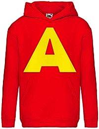 Allover Felpa Bambino Cappuccio e Tasca Colore Rosso con Stampa A Grande Tipo Alvin - Cappellino in Omaggio