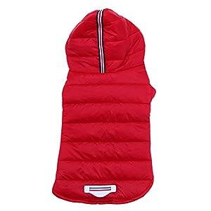 UEB Vêtement Chien Manteau Habits pour Chien Chat Chiot Hiver VêTements Chauds Chandail Costume Manteau Veste Habillement Rouge XL
