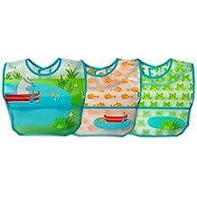 Green Sprouts Wipe-off baberos (9 A 18 meses, Aqua estanque, ...