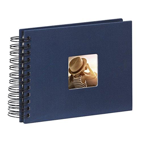 Hama Fotoalbum Spiralalbum (50 schwarze Seiten, 25 Blatt, Größe 24 x 17 cm, mit Ausschnitt für Bildeinschub, Fotobuch) blau