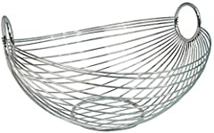Idea Regalo - Zeller 24895 Cesto per la Frutta, Ovale, Metallo, Argento, 27.5x26x15 cm