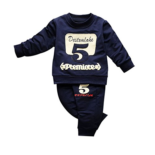Pullover Set Kleinkind Btruely Unisex Kinderbekleidung Baby Clothes Set Langarm Spielanzug + Hosen Kappe Outfits Kinder (90, Marine) Neugeborene Jungen Kleidung Unterwäsche