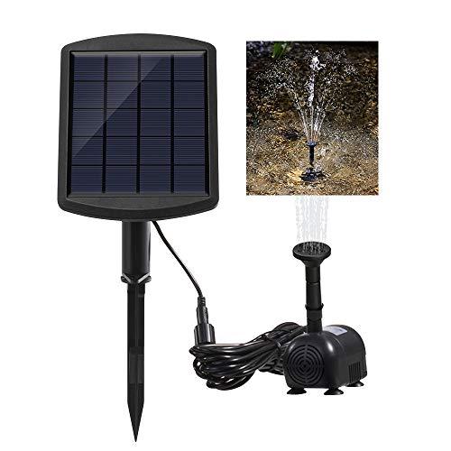 FORNORM 6V 1.8W Solar Brunnen Pumpe, Wasserpumpe Solar Tauchpumpe Teichpumpe Gartenbrunnen Solarpumpe, 60CM 200L/H Sprühbereich, Wasserdichtes IP65 Sonnenkollektor & IP68 Pumpe, 12ft Kabel Inklusive