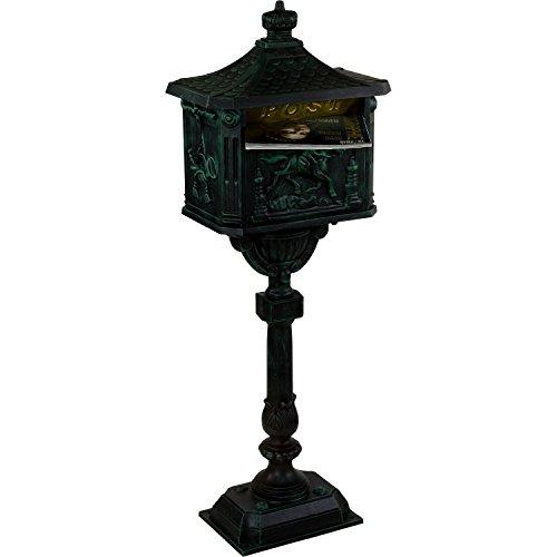 Maxstore Antiker Standbriefkasten aus rostfreiem Aluminium Briefkasten Postkasten groß antik Höhe 111 cm detailreiche Verzierungen 4 Farbvarianten Grün - 8