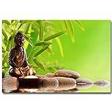 LIEFENGDAO Stein Und Bambus Meditation Kunst Seide Stoff Poster Riesige Print Buddha Bild Zimmer Wand-Dekor, 32 X 48