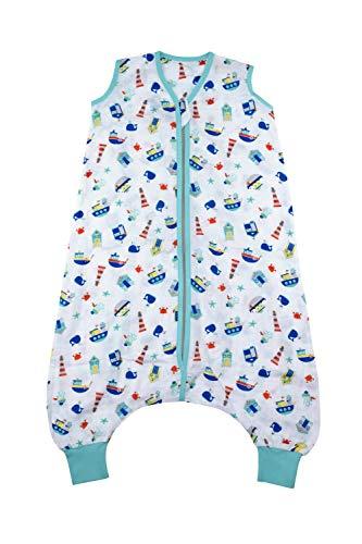 Schlummersack Bambus-Musselin Sommerschlafsack mit Füßen 0.5 Tog - Boote - Jungen - 24-36 Monate/100 cm