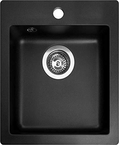 Granit Einbauspüle Spüle Spülbecken schwarz eckig GQS 100W-601 425x500x195 mm