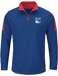 """New York Rangers Majestic NHL """"Estado"""" 1/4 cremallera Base casebomb camisa del funcionamiento, NHL, color , tamaño XXL"""