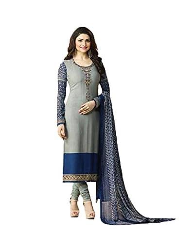 Readymade Designer Straight Ethnic Georgette Salwar Kameez Suit Indian Dress Silkina royal crape 9 (M-40, Gray)