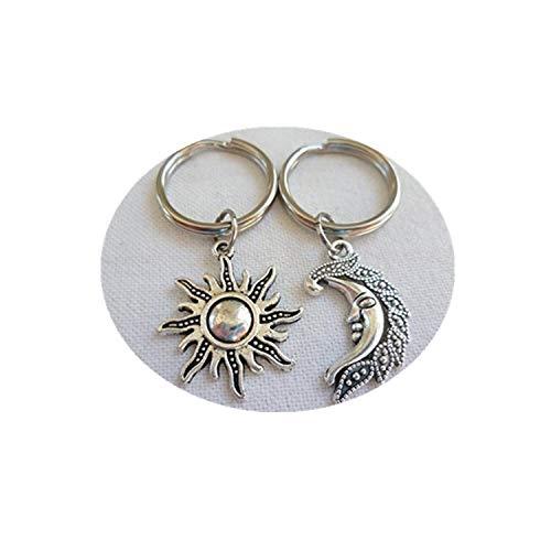 JUN Sun, Moon Schlüsselanhänger, Moon Schlüsselanhänger, Sonne und Mond Schmuck, Exquisite und Einzigartige Schmuck