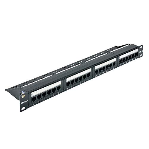 Draht Cat5e Jack (Cat5e 24 Ports UTP Patch Panel Frame 50U Elektrodenplatte mit Staubschutzkappe Wallmount oder Rackmount Blank Keystone Jack Patch Panel)