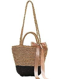 louzheni Bolsas de paja para mujer de ratán bohemio para la playa bolso de mano diseño