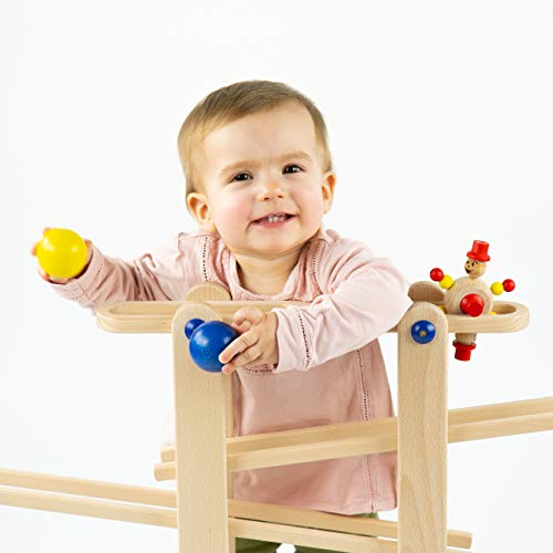 Trihorse wooden marble run for children from 1 year old, very stable with 6 riding toys, made in EU