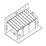 Palram Terrassendach Holz, Terrassenüberdachung Juniper, Markise, Gartenlaube 300x550 cm Natur