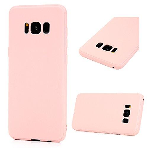 MAXFE.CO TPU Hülle für Samsung Galaxy S8+/S8 Plus Handyhülle Matte Schale Etui Gemalt Einfabig Stoßdämpfung Cover Rück mit Bellrosa Muster - Fleisch Ruck