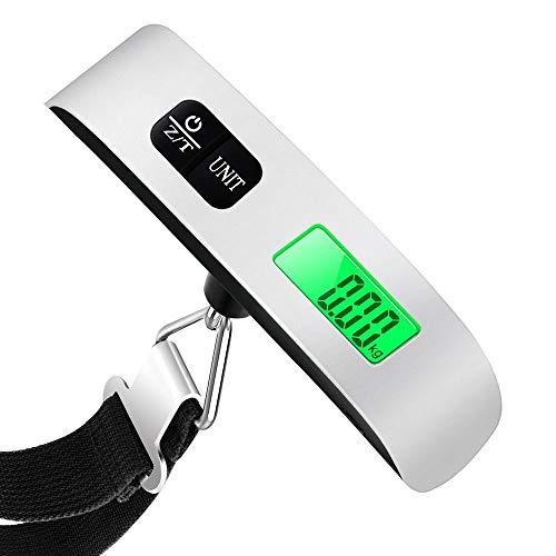 Mixigoo Bilancia Digitale pesa Bagagli Valigie 50kg/110lb con Display LCD Retroilluminato, Sensore di Temperatura, Funzione Zero e Tare per Viaggi All\'aperto Casa, Batteria Inclusa