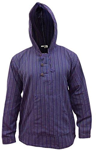 Shopoholic Fashion Mehrfarbig dharke Streifen Opa Kapuzenpulli Hemd, leicht Mehrfarbig - PURPLE MIX