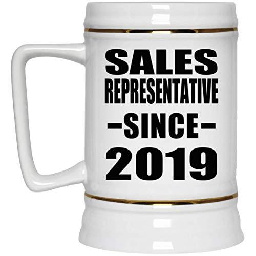 Sales Representative Since 2019-22oz Beer Stein Bierkrug Keramik Bierhumpen Bar Becher Kneipenkrug - Geschenk zum Geburtstag Jahrestag Muttertag Vatertag Ostern Sale Vintage Milk Glass