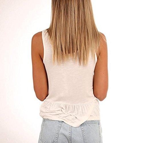 Beautyjourney Gilet De Costume Femme,Femmes V-Neck Veste Sexy Gilet Chemise Sans Manches T-Shirt Creux Sur DéBardeurs Gilet Fin Femme Gilet Vintage Femme Blanc