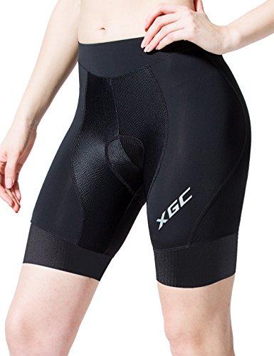 Damen Kurze Radhose und Radunterhose Radsportshorts Fahrradhose für Frauen Elastische 3D Schwamm Sitzpolster mit Einer Hohen Dichte (XL, Black_Black)