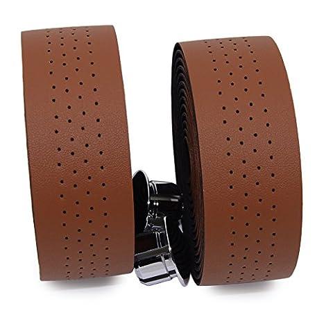 KINGOU Handlebar Tape PU Leather Bar Tape Fixed Gear / Road Bike Bar Wrap with 2 Reflective Plug