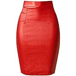 80Store Mujer Moda Falso Cuero Lápiz Bodycon Oficina Formal Alto Cintura Midi Falda (XL, rojo)