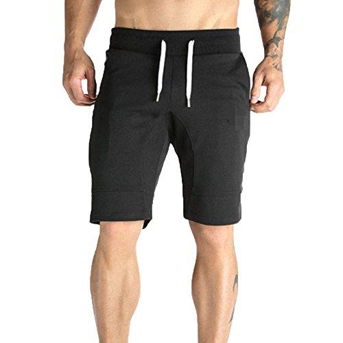 LLonGao Männer Reißverschluss-Tasche Beiläufige Elastische Taille Harem Training Jogger Sport Kurze Hosen Solide Casual Sport Fitness ()