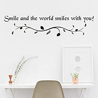 SMILEQ Funny Quote Wall Stickers Smile Decal Removable Art Vinyl Mural Home Room Decor (A)