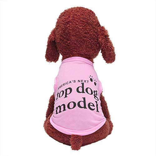 Notdark Sommer Pet Hunde Bekleidung Fashion Brief Drucken Warm Hundekleid Rundhalsausschnitt Beiläufig Thermal Cotton (XS,Rosa) -