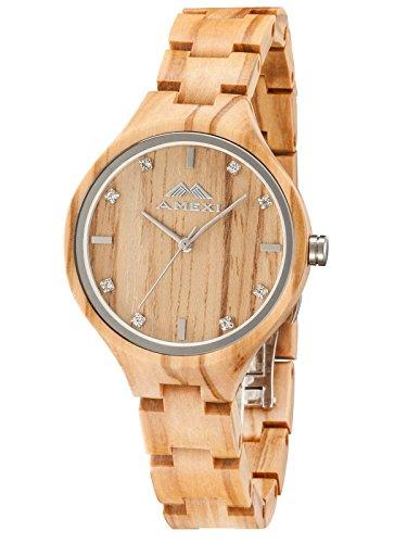 GREENTREE Olivenholz Uhr für Dame mit Kristall Gesicht Uhr Frauen