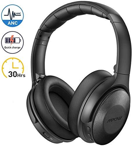 Mpow h17 cuffie cancellazione rumore attiva, cuffie bluetooth con ricarica rapida, autonomia 30 ore, cuffie wireless over ear, hi-fi e bassi potenti, cuffie riduzione del rumore per cellullari/pc/tv