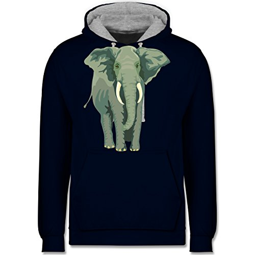 Wildnis - Elefant - Kontrast Hoodie Dunkelblau/Grau meliert