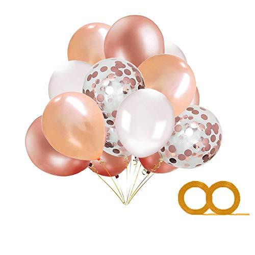 MAKFORT 40 Stück Luftballons Rosegold mit Konfetti Ballons Rosegold Champagner Gold Weiß Ballons und 2XLuftschlangen Helium Ballons für Hochzeit Geburstagsdeko Mädchen Babyparty Dekoration