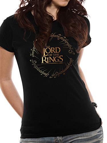 Tagless Rundhalsausschnitt T-shirt (T-Shirt Fitted (Women-Xl) Gold Foil Logo (Black))