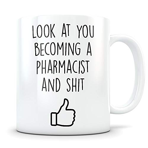 Pharmacist Graduation Gifts - Pharmacy Graduates - Pharmaceutical Coffee Mug for Men and Women School Students Class of 2018 - Funny Grad Diploma or Academic Degree Congratulations